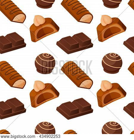 Chocolate Candies Pattern. Seamless Texture With Milk Cacao Sweets. Glazed Caramel Bonbon Pieces. Ta