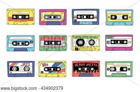 Tape Cassette. Retro 90s Audio Mixtape. Vintage Compact Stereo Player Records. 80s Style Retro Rock