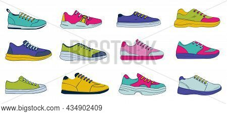Doodle Sneakers. Hand Drawn Sport And Casual Footwear. Mens Or Womens Colored Fitness And Fashion Sh