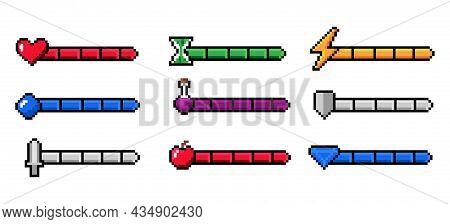 Arcade Game Progress Bar. 8-bit Indicators Of Health And Stamina, Money Or Energy. Gaming Experience