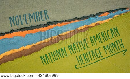 November - National Native American Heritage Month, handwriting on abstract paper river landscape, reminder of historical and cultural event