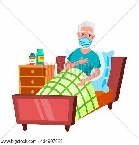 Old Man Wearing Facial Mask In Hospital Vector. Illness Caucasian Elderly Grandfather Wear Medicine