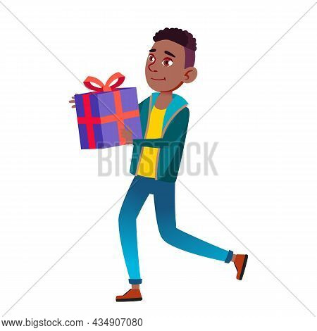 Teenager Boy Running With Present At Birth Vector. African Teen Running With Gift Present At Anniver