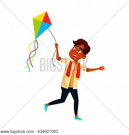 Teenager Boy Running With Kite On Beach Vector. Indian Teen Schoolboy Run With Kite Outdoor. Happine