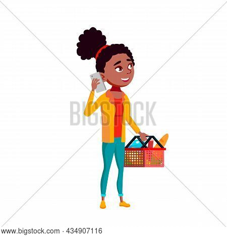 Girl Teenager Using Smartphone In Market Vector. Teen With Grocery Products In Basket Calling By Sma