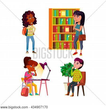 Teenager Girls Thinking And Dreaming Set Vector. Teen Girls Think And Dream In Library And School, I