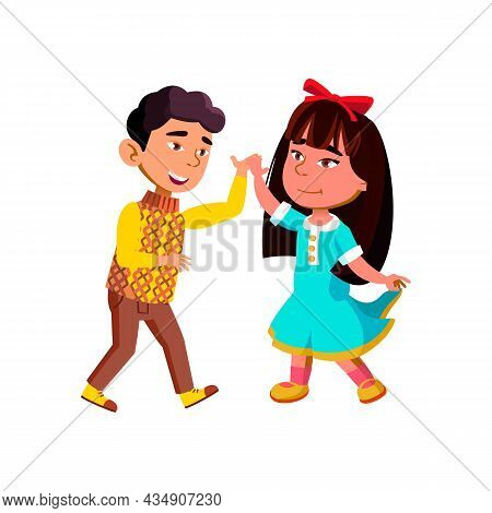Boy And Girl Kids Couple Dancing Together Vector. Happiness Asian Schoolboy And Schoolgirl Dancing E