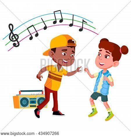 Boy And Girl Kids Dancing Rhythmic Dance Vector. African Schoolboy And Caucasian Schoolgirl Couple L