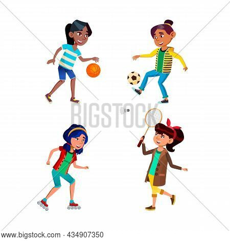 School Girls Playing Sport Game Active Set Vector. School Girls Playing Basketball And Soccer, Ridin