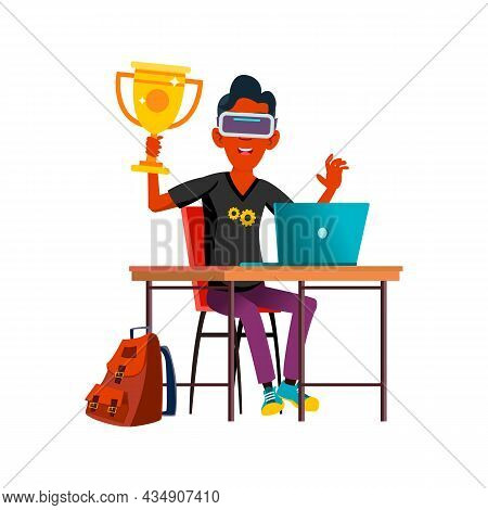 Boy Teen Celebrating Victory In Cybersport Vector. Hispanic Teenager Holding Golden Cup Celebrate Vi