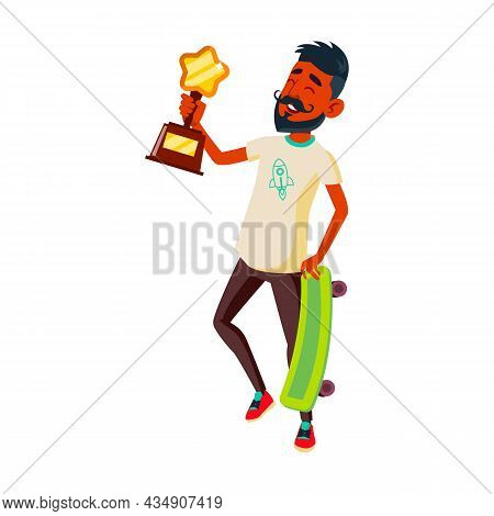 Boy Teenager Athlete Celebrate Victory Vector. Indian Teen Guy Holding Skate Board And Golden Cup Re