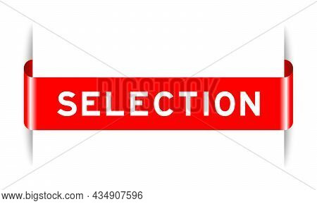 Red Color Inserted Label Banner With Word Selection On White Background