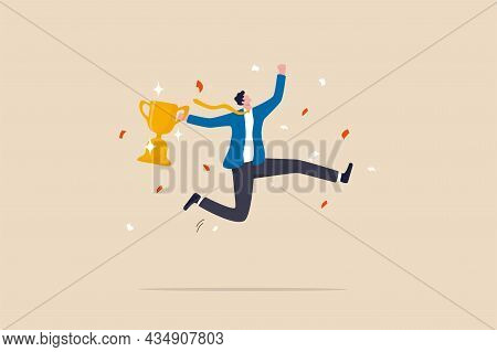 Celebrate Work Achievement, Success Or Victory, Winning Prize Or Trophy, Challenge Or Succeed In Bus