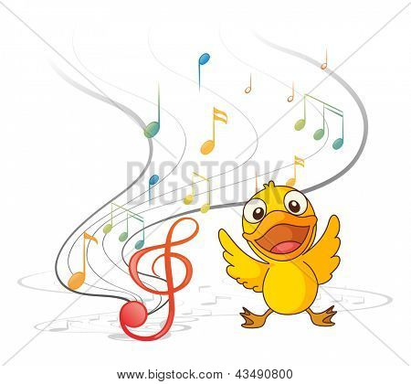 Illustration of the singing chick on a white background
