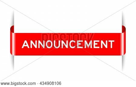 Red Color Inserted Label Banner With Word Announcement On White Background
