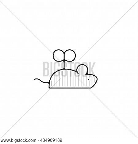 Toy Mouse Vector Thin Line Icon. Toy Mouse Hand Drawn Thin Line Icon.