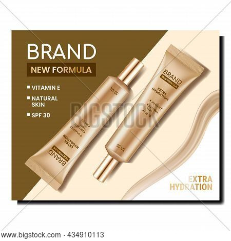 Cream New Formula Creative Promotion Poster Vector. Natural Skin Care Blank Tubes Packages On Advert