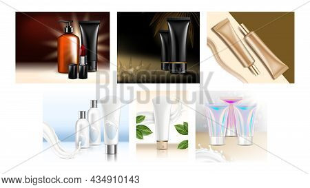 Cosmetic Tubes Creative Promo Posters Set Vector. Cream Cosmetic Tubes And Blank Packages, Lotion Bo