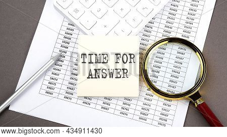 Time For Answers Text On Sticker On Chart ,with Calculator And Magnifier