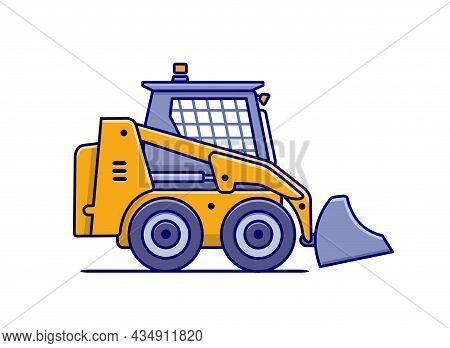 Bulldozer. Construction Machinery. Icon Isolated. Vector Illustration