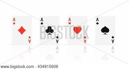 Quads. Ace Design Cazino Game Element With Transparent Reflection. Poker Or Blackjack Realistic Card