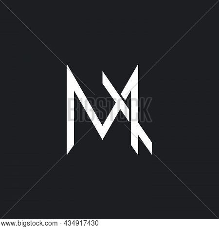 Letter M Simple Overlapping Motion Line Geometric Logo Vector