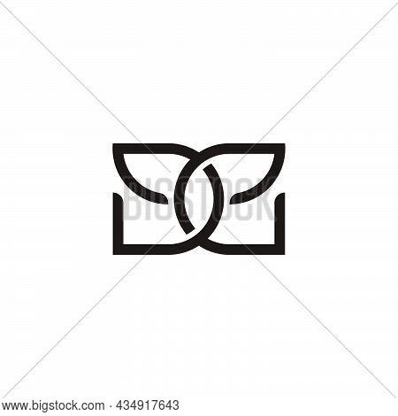 Letter De 3d Overlapping Line Flat Logo Vector