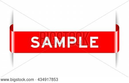 Red Color Inserted Label Banner With Word Sample On White Background