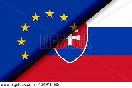 Flags Of The Eu And Slovakia Divided Diagonally. 3d Rendering