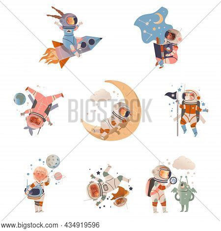 Cute Kids Astronauts In Space Suits In Outer Space Set. Design Element Can Be Used For Children Prin