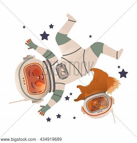 Cute Happy Boy Astronaut In Space Suit Flying With His Dog. Design Element Can Be Used For Children