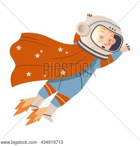 Boy Astronaut In Space Suit Flying In Space. Design Element Can Be Used For Children Print, Books, S