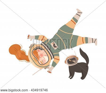 Cute Happy Girl Astronaut In Space Suit Flying With Her Cat. Design Element Can Be Used For Children