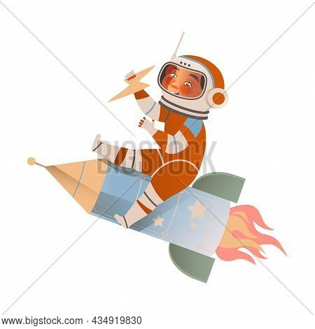 Cute Boy Astronaut In Space Suit Flying On Rocket. Design Element Can Be Used For Children Print, Bo