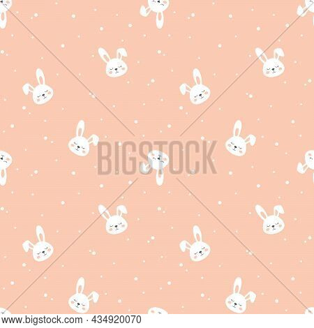 Bunny Cartoon Pink Vector Seamless Pattern. Baby Bunnies Pink Print.