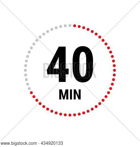 40 Minute Vector Icon, Stopwatch Symbol, Countdown. Isolated Illustration With Timer.
