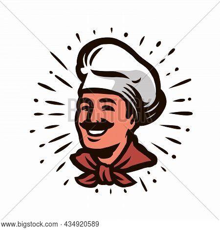 Chef Portrait With Hat. Design Element For Restaurant Or Cafe Menu. Food Concept Vector Illustration