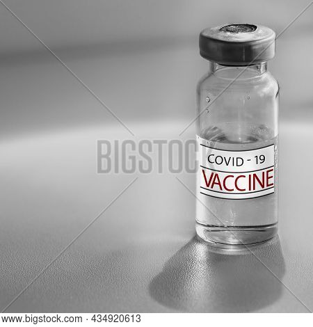 Covid-19 Vaccine. Health Care And Medical Concept. Medicine Bottle. Abstract Medical Background. Hea