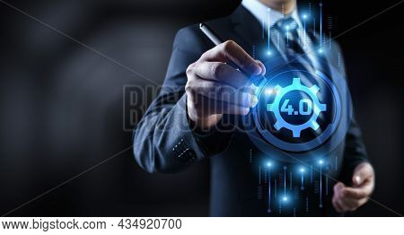 Smart Industry 4.0 Modern Innovation Manufacturing Technology Concept On Screen