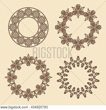 Vector Set Of Circular Frame Ornaments. Four Oval Ornamental Patterned Borders. Circular Frame.