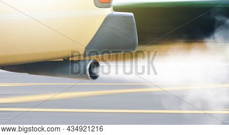 Vehicle Air Pollution Of Old Diesel Engine With White Color Smoke On The Road