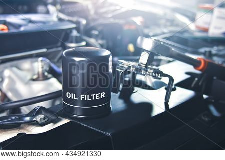 New Oil Filter Of The Car For Engine Oil System Maintenance In The Repair Garage