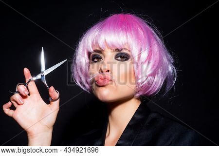 Woman With Scissors Having Hair Cut. Fashion Girl With Straight Hair With Professional Scissor. Hair