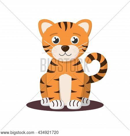 Cute Little Chinese Tiger Cub. Sitting And Smiling Baby Animal, Symbol Of 2022 According To Chinese