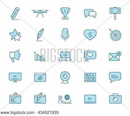 Blog Line Vector Icons In Two Colors Isolated On White Background. Blogger Blue Icon Set For Web Des
