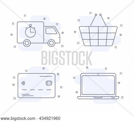 E Commerce Outline Vector Illustrations Isolated On White. E Commerce Purple Line Icons With Light P