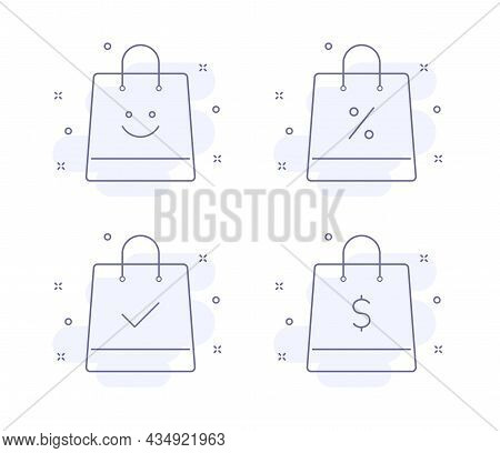 E Commerce Outline Vector Illustrations Isolated On White. Bag Purple Line Icons With Light Pink Bac