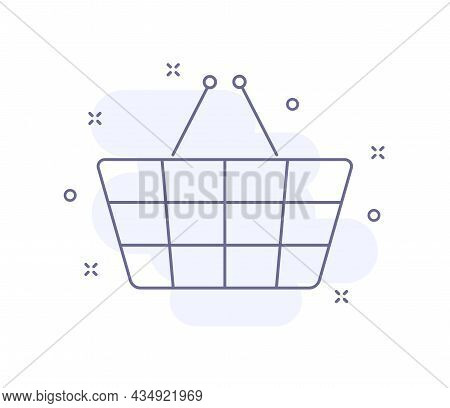 Shopping Basket Outline Vector Illustration Isolated On White. Shopping Basket Purple Line Icon With