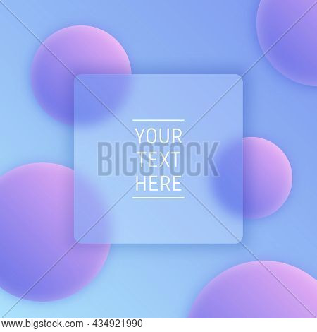 Glass Morphism Trendy Style Tamplate Banner. Square Purple Gradient Background With Place For Text,
