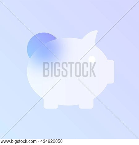 Piggy Bank Glass Morphism Trendy Style Icon. Piggy Bank Transparent Glass Color Vector Icon With Blu